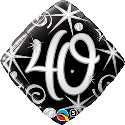 40th Birthday Elegant Sparkle Mylar Balloon