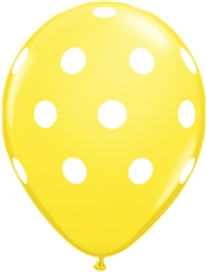 Big Polka Dots Citrine Yellow Latex Balloons (11 in)