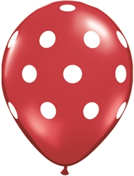 Big Polka Dots Red Latex Balloons (11 in)
