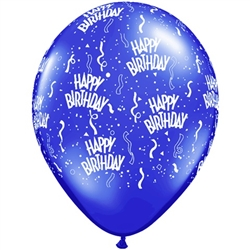 Birthday-A-Round Sapphire Blue Latex Balloons (11 in)