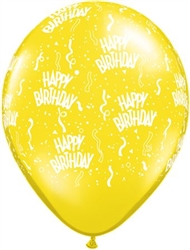 Birthday-A-Round Citrine Yellow Latex Balloons (11 in)