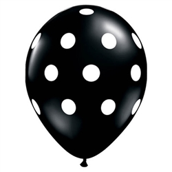 Big Polka Dots Black Latex Balloons (11 in)