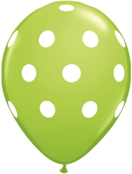 Big Polka Dots Lime Green Latex Balloons (11 in)