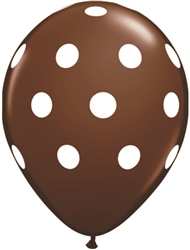 Big Polka Dots Chocolate Brown Latex Balloons (11 in)