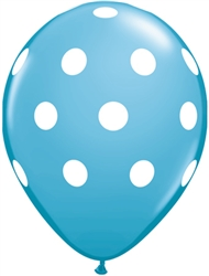 Big Polka Dots Robin's Egg Blue Latex Balloons (11 in)