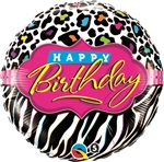 Birthday Leopard and Zebra Pattern Mylar Balloon