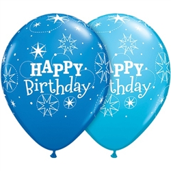 Birthday Sparkles Dark Blue and Robin's Egg Blue Latex Balloons (11 in)