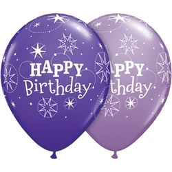 Birthday Sparkles Violet and Lilac Latex Balloons (11 in)