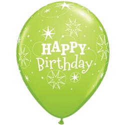 Birthday Sparkles Lime Green Latex Balloons (11 in)