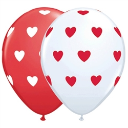 Big Hearts Red and White Latex Balloon (11 in)