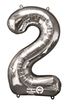 "Silver ""2"" Shaped Mylar Balloon"