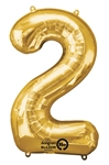 "Gold ""2"" Shaped Mylar Balloon"