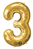 "Gold ""3"" Shaped Mylar Balloon"