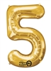 "Gold ""5"" Shaped Mylar Balloon"