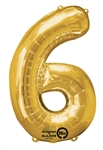 "Gold ""6"" Shaped Mylar Balloon"