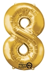 "Gold ""8"" Shaped Mylar Balloon"