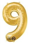 "Gold ""9"" Shaped Mylar Balloon"