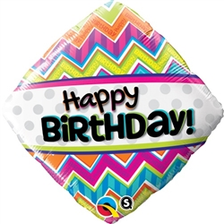 Birthday Chevron Pattern Mylar Balloon