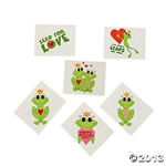 Happy Valentine Frog Tattoos (36 Pack)