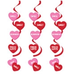 Valentine's Day Hearts Dizzy Danglers Swirl Decorations