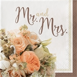 Rose Gold Bouquet Mr. and Mrs. Luncheon Napkins