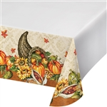 Harvest Cornucopia Border Print Plastic Table Cover