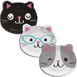 Purr-Fect Party Shaped 9 Inch Plates