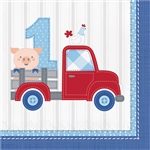 Farmhouse 1st Birthday Boy Luncheon Napkins