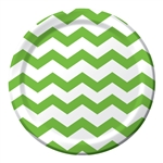 Lime Green Chevron 9 inch Dinner Plates