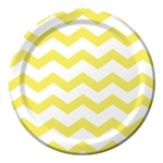 Mimosa Yellow Chevron 9 inch Dinner Plates