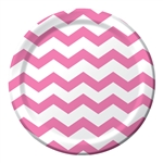 Candy Pink Chevron 9 inch Dinner Plates