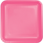 "CANDY PINK 9"" SQUARE PAPER PLATES"
