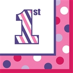 Sweet Stripes Girl 1st Birthday Luncheon Napkins