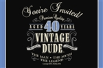 Vintage Dude 40th Invitations
