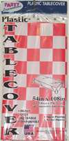 Red/White Checkered Tablecover - Plastic