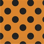 Orange & Black Polka Dots Luncheon Napkins