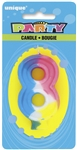 Rainbow Numeral Candle - #8