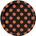 Orange & Black Polka Dots Dessert Plates