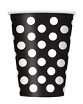 Black Polka Dots 12oz Cups