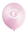 Happy 1st Birthday Pink Balloons