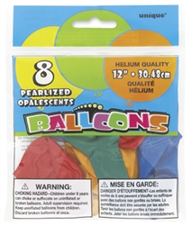 Assorted Pearl 12in 8 Count Latex Balloons