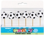 Soccer Ball 3D Pick Candles - 6 Count