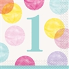 Pink Dots First Birthday Beverage Napkins