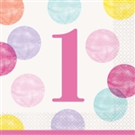 Pink Dots First Birthday Luncheon Napkins