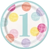 Pink Dots First Birthday 7 Inch Plates