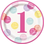 Pink Dots First Birthday 9 Inch Plates