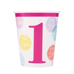 Pink Dots First Birthday 9 Oz Cups