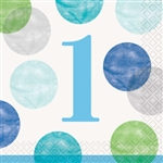 Blue Dots First Birthday Beverage Napkins