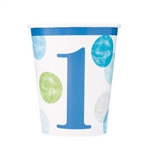 Blue Dots First Birthday 9 Oz Cups