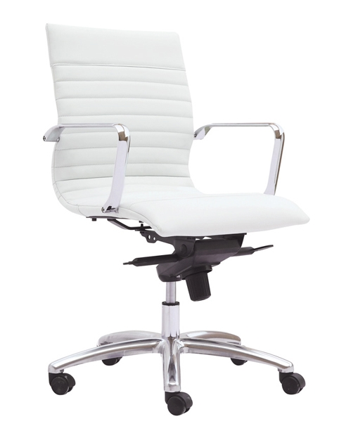 Zetti - Mid Back Executive White Leather Chair